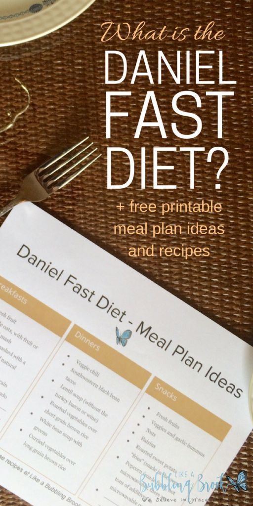 What is the Daniel Fast Diet? You can read more about this amazing fast here, and also download a free printable meal plan ideas sheet. Links to recipes are included, too!