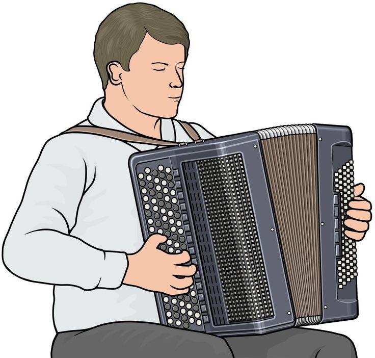 アコーディオンを演奏する男性。ボタン・キータイプ。