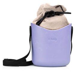 O Basket - Lavender '50 with Black Faux Strap and Natural Canvas Insert #fullspot #shoulderbag