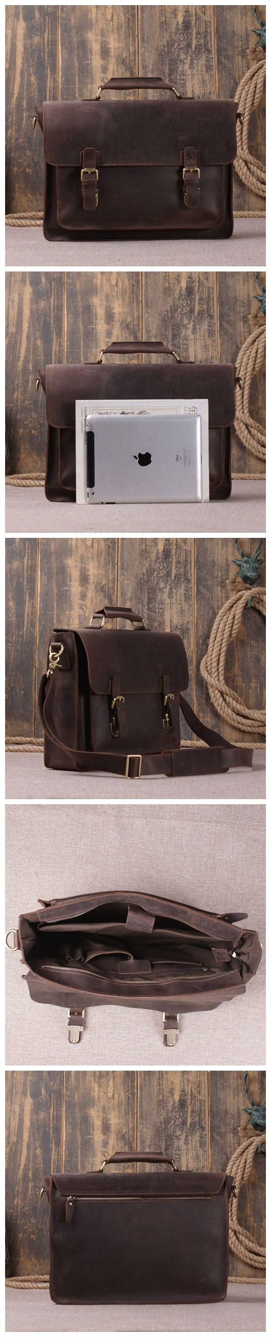 Vintage Style Genuine Leather Laptop Messenger Bag Leather Briefcase Men's Fashion Bag