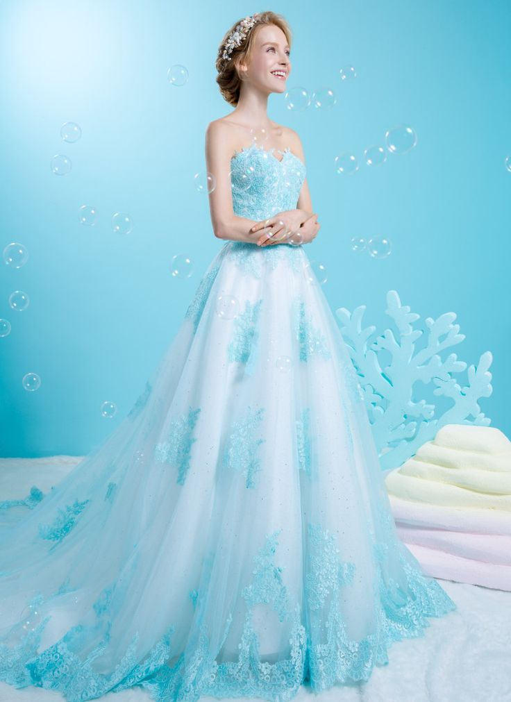 Sweetheart Ballgown In Soft Blue With Scallop Lace At The Hem Leaving An Exquisite Touch