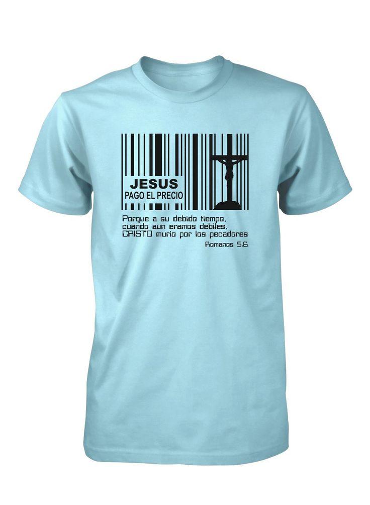 Jesus Pago Precio Codigo Barras Cruz Camiseta Cristiana                                                                                                                                                                                 Más