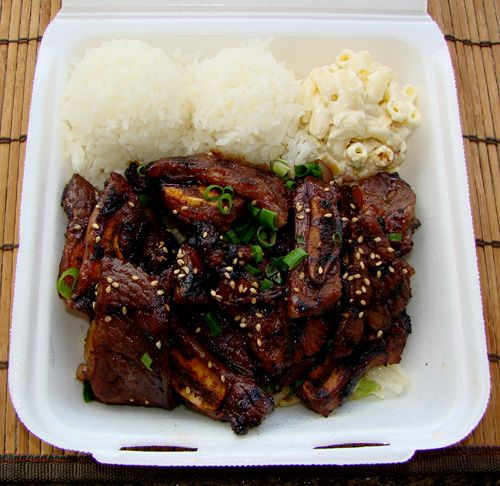 plate lunch of 2 scoops rice, macaroni salad and kalbi ribs....Ono-licious!