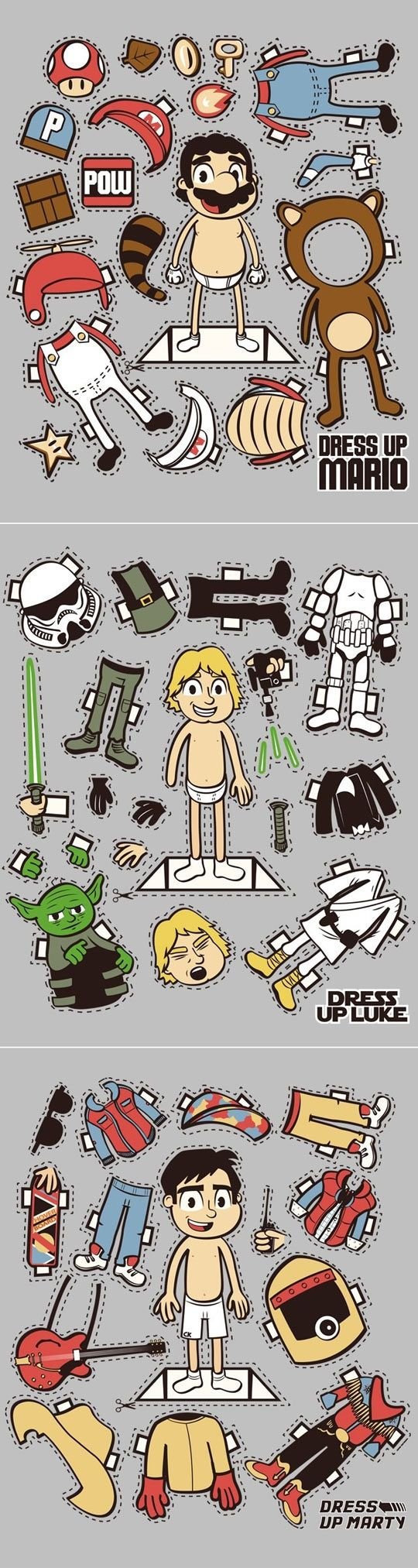 Now this may be only a joke, but joel would LOVE these boy paper dolls  My boys would think Luke and Mario are cool, but would have no idea who Marty is.