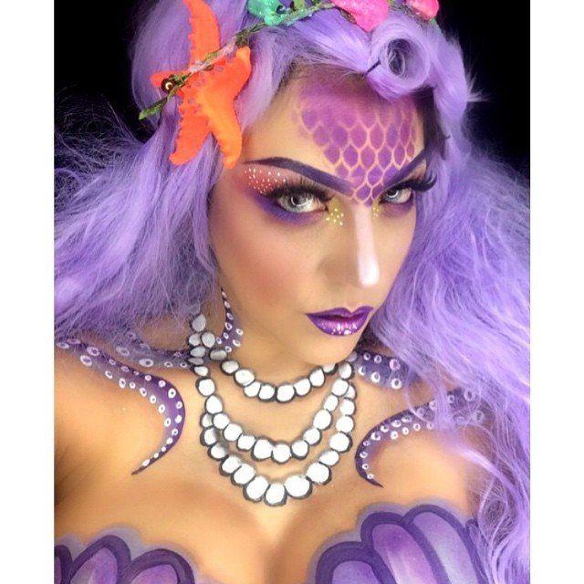 Purple Hair Mermaid Mermaid Makeup Rainbow Hair Color Gorgeous Makeup