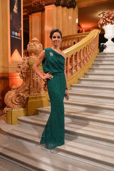 Carolina Herrera esmerald green lace dress