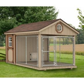 Fully Assembled 8 X 12 Ft Amish 1 Run Dog Kennel With Feed Room