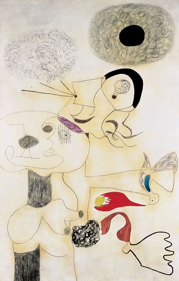 1930 JOAN MIRÓ (Catalonia) Oil, charcoal, and plaster on canvas, 231 x 150.5 cm. Scribbled doodle of an intimate dream, audaciously magnified on a monumental scale and unparalleled in intensity. Photo: Peter Schibli, Basel