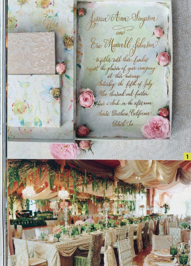 Jessica Simpson's Wedding Invitations in People Magazine!!! Designed by Kristy Rice of Momental Designs - they made our wedding invitations, too!!!!!!!  I purchased the magazine!!!!! <3 <3 <3 !!!!!