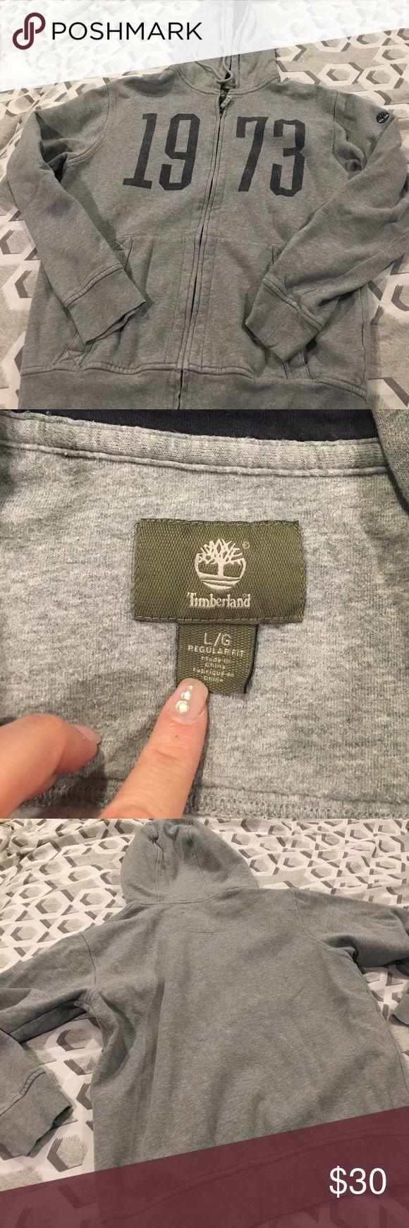 Timberland hoodie Gray and blue timberland  zip up Hoodie. Timberland Shirts Sweatshirts & Hoodies