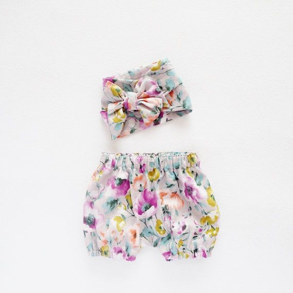 beautiful fun with colour, matching baby bloomer shorts and fabric head wrap offered in size newborn to 3T. Baby Gift Set Kids Gift Head Wrap and Bloomers Set by moonroomkids