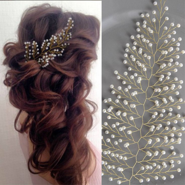 Pearl bridal hair piece Baby breath headpiece Crystal wedding hair brooch Silver hair comb Prom hair garland Champagne hair vine Headband