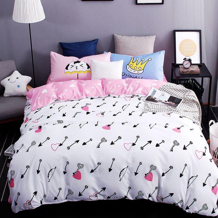 New printed bedding sest excellent imitation cotton love the arrow bed sheet quilt duvet cover pillowcase 3/4 pcs Queen Full Twi #Affiliate