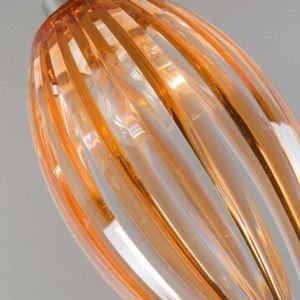 Plafón JARNO cromo y ámbar - Preciosa lámpara de plástico transparente con unas láminas de acero cromado de color ámbar, que hacen unos juegos de luz muy originales.
