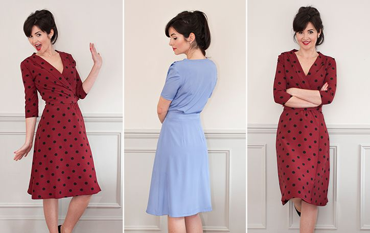 The 1940's Wrap Dress is a vintage-inspired wrap dress designed for woven fabrics.