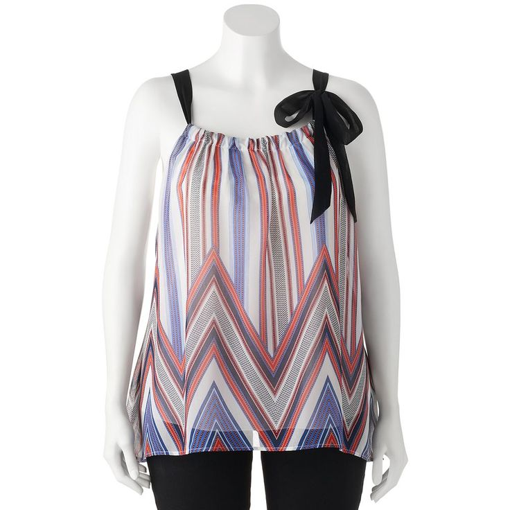 Juniors' Plus Size HeartSoul Woven Chevron Print Tank, Teens, Size: 3XL, Med Blue