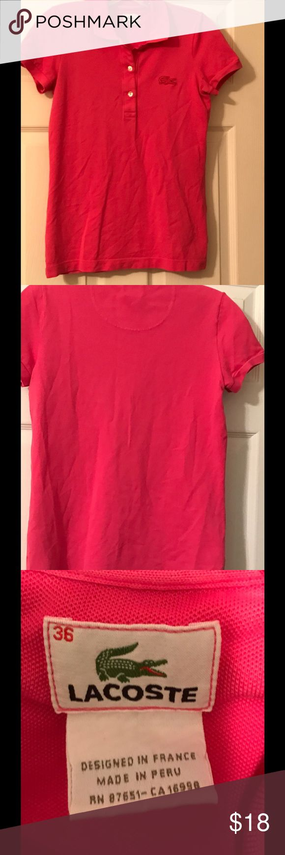Ladies Pink Lacoste Polo Shirt Pretty Pink Lacoste Shirt. Lacoste Tops