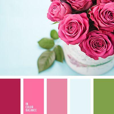 celeste y rosado, celeste y verde, color de las rosas, color rosa rosada, colores de las rosas rosadas, colores para el día de San Valentín, colores para una velada de San Valentín, frambuesa, frambuesa y verde, rosado vivo, rosado y celeste, rosado y verde, tonos rosados, verde y carmesí,