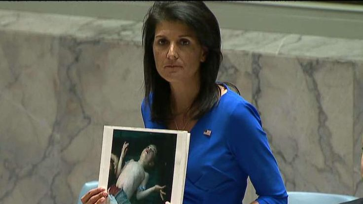 "U.S. Ambassador to the U.N. Nikki Haley slammed Russia Wednesday over its past role blocking the body from holding Syria's Assad regime accountable, while hinting that the U.S. could take unilateral action in the wake of the latest deadly chemical weapons attack. ""These heinous actions by the [Assad] regime are a consequence of the past administration's weakness and irresolution,"" Trump said in a statement.  And he's going to do what ...?"