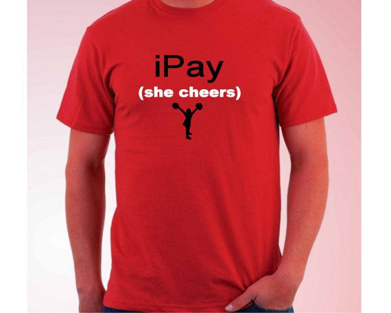 I pay she cheers funny cheerleader parent tshirt. cheer by BayWear