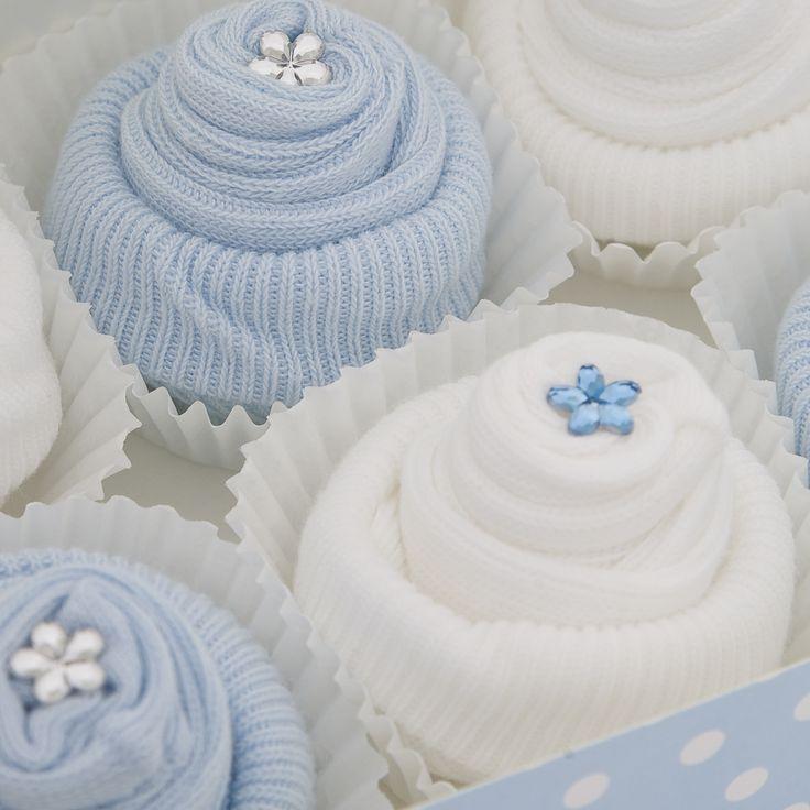 6 pairs of cute baby sock cupcakes