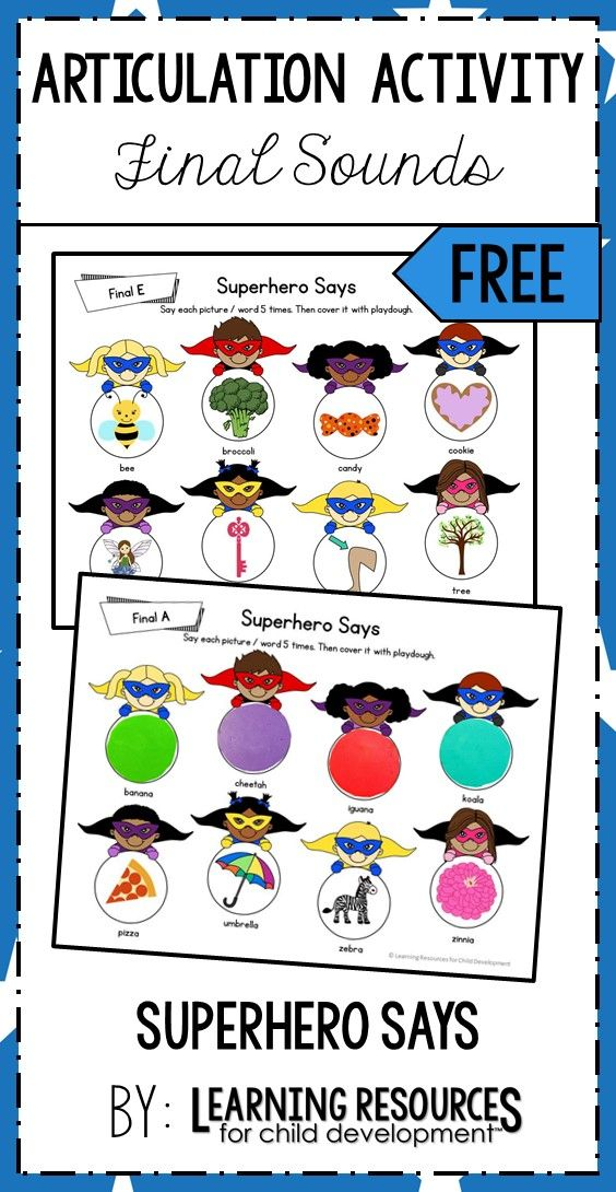 Superhero Says Articulation Practice Final Sounds Free Printable