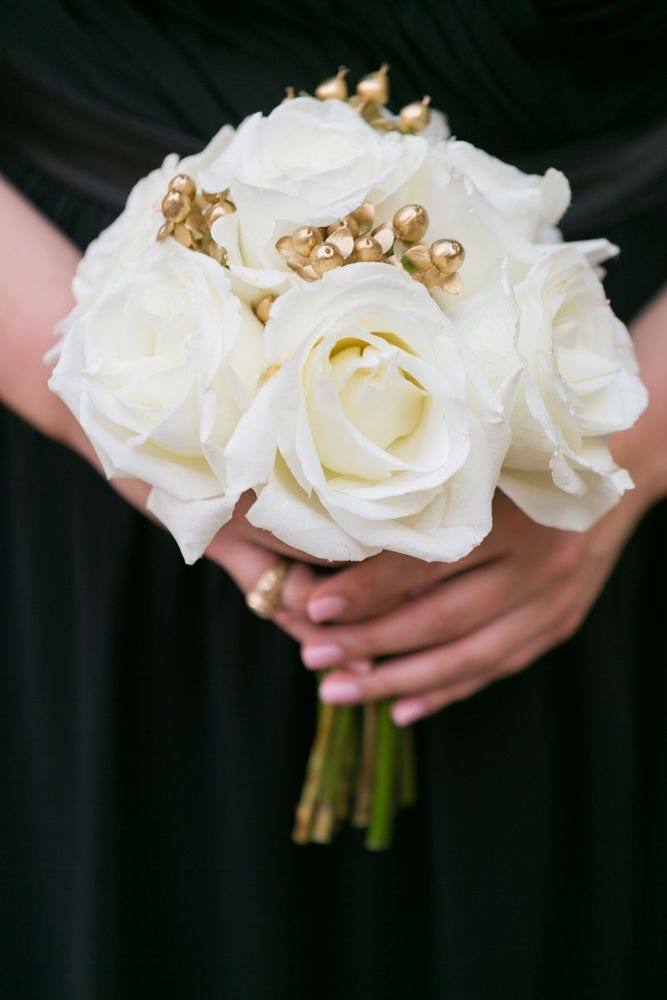 Ivory Gold Bridesmaid Bouquet At Piazza In The Village Fresh White Roses And Golden Berries Whi Gold Wedding Bouquets Wedding Bouquets Bridesmaid Flowers