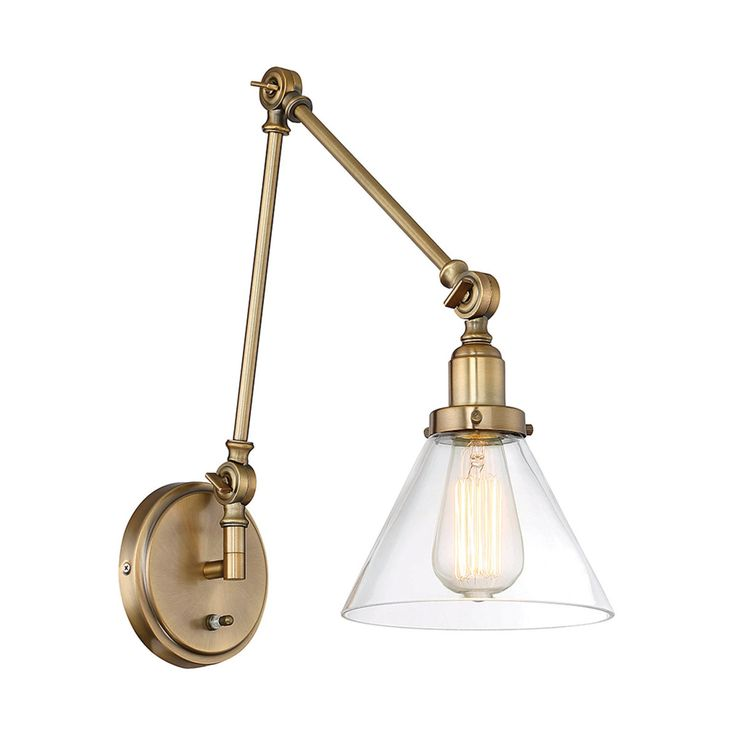 Industrial Triangle Shade Swing Arm Wall Sconce Warm_brass