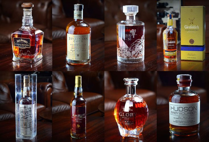 Few of many collections you'll find in Bugsy's. From top left, clockwise: Jack Daniels Single Barrel; Sullivans Cove Australian Bourbon; Hibiki Suntory whiskey; Glenfiddich; The General; Amrut Single Malt Whiskey; Glory Cognac; Hudson Baby Bourbon.