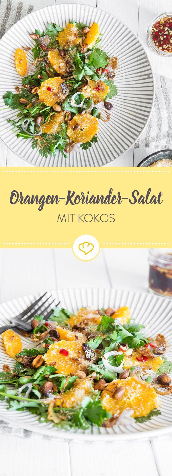 Salat wird niemals langweilig. Heutige Bausteinchen in deiner exotischen Salatschüssel: Frucht, Kräuter und Nüsse - vermengt mit einem scharfen Dressing.