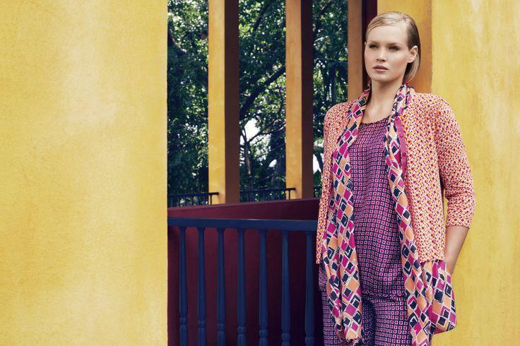 Marina Rinaldi SS14 Habotai silk t-shirt and matching cotton trousers worn with printed cotton carding and habotai silk stole.