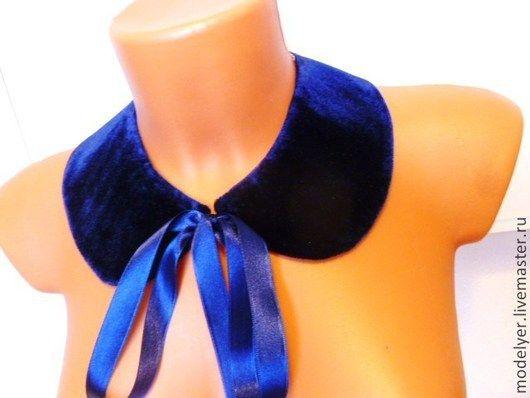 Воротнички ручной работы. Ярмарка Мастеров - ручная работа. Купить Бархатный воротичок Blue / синий бархат. Handmade. подарки