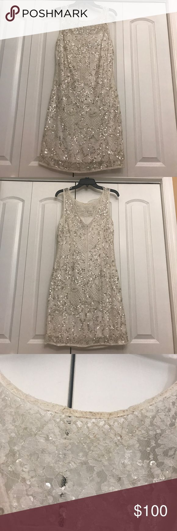 Aidan Mattox dress Aidan Mattox dress size 14 bought at Bloomingdales. Only worn once at My Engagement party. In great condition. Just a stain on back collar. Could be removed. Aidan Mattox Dresses Mini