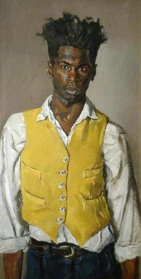 Love this painting, great artist!  Self-portrait with Yellow Waistcoat, 1994 by Desmond Haughton.