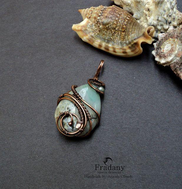 Copper pendant - Amazonita