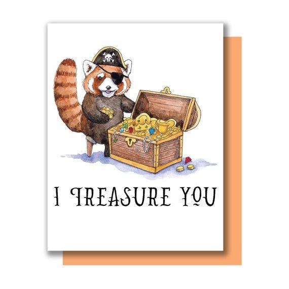 I Treasure You Red Panda Pirate Treasure Chest Valentine Love Etsy Valentine Love Cards Pirate Treasure Chest Pirate Treasure