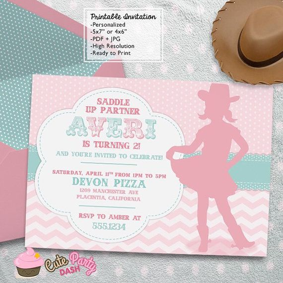 Little Cowgirl Rodeo Birthday Party invitations by CutePartyDash