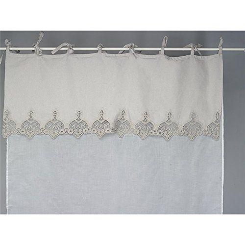 simla rideau brise bise en voilage blanc et dentelle beige gris e simla lin 45 x 70 cm. Black Bedroom Furniture Sets. Home Design Ideas