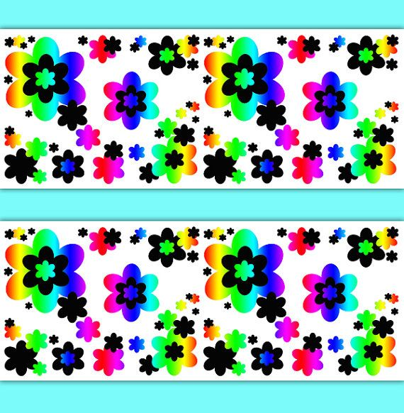 rainbow floral border decals wallpaper wall art teen girl flower stickers room decor multi colored - Multi Bedroom Decor