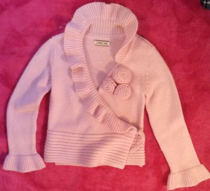 CardiGan Pink Girl 8-9 yr Cherokee Tie On the side Good Condition