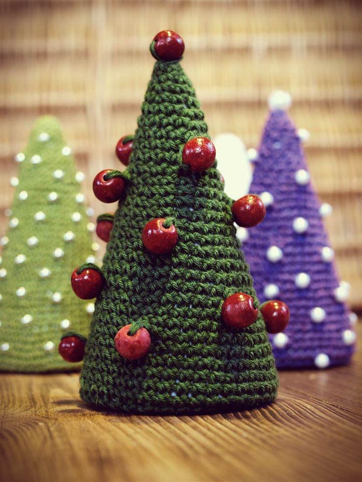 Choinki dziergane na szydełku ręcznie wykonane - Boże Narodzenie w Siedlisku na Wygonie