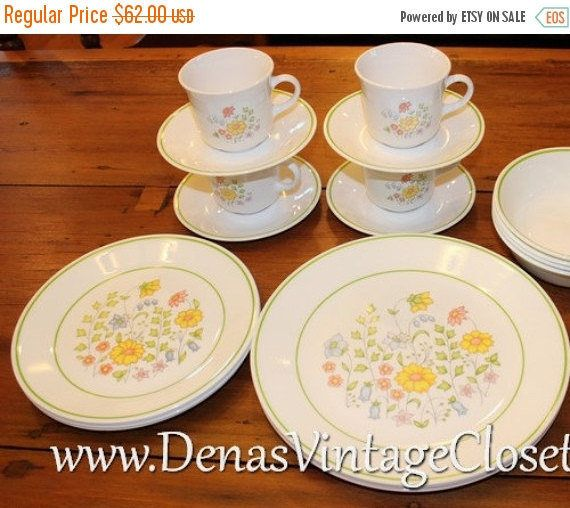 25% OFF SALE Vintage Corelle Spring Meadow Dinnerware Set 4 Place Settings 16 Pc Set Dinner Plates Salad Plates Cups Saucers