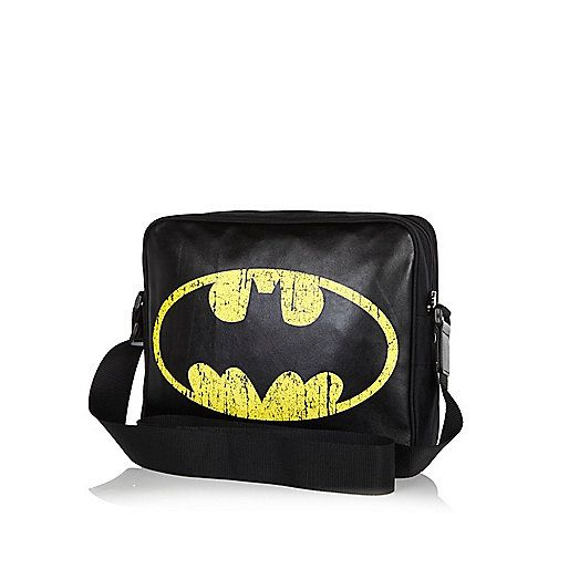 Boys black Batman logo print messenger bag - bags - accessories - boys