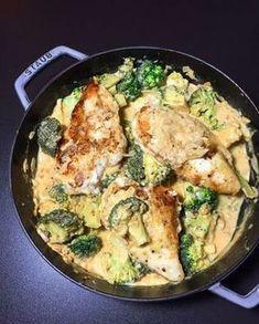 Zutaten( 3 Portionen): Hähnchenbrust: 3 Hähnchenbrüste, gewaschen und trocken getupft 3 El Mehl 10 g frisch geriebener Parmesan Salz, Pfeffer Olivenöl zum Einreiben und Braten 2 Tl Butter Rahm-Sauce: 500 g Brokkoli, gewaschen und in kleine mundgerechte Röschen geteilt 2 Knoblauchzehen, gehackt 2 El Olivenöl 150 g Hühnerbrühe 100 g Sahne zum kochen 100 g Milch 4 Tl Senf 15 g frisch geriebener Parmesan 1/2 Tl geräuchertes Paprikapulver