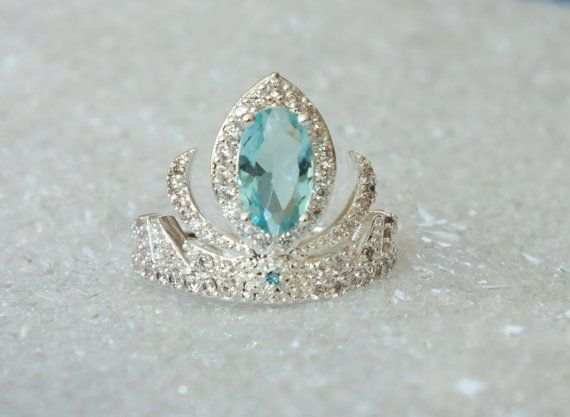 Elsa Silver Frozen Tiara Princess Ring Anna Frozen Crown Crystal Aquamarine Birthstone March