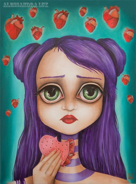 Heart disorder, oil on canvas by Alessandra Lux #popsurrealism #lowbrow #illustration #heart