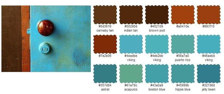 blue, orange, brown