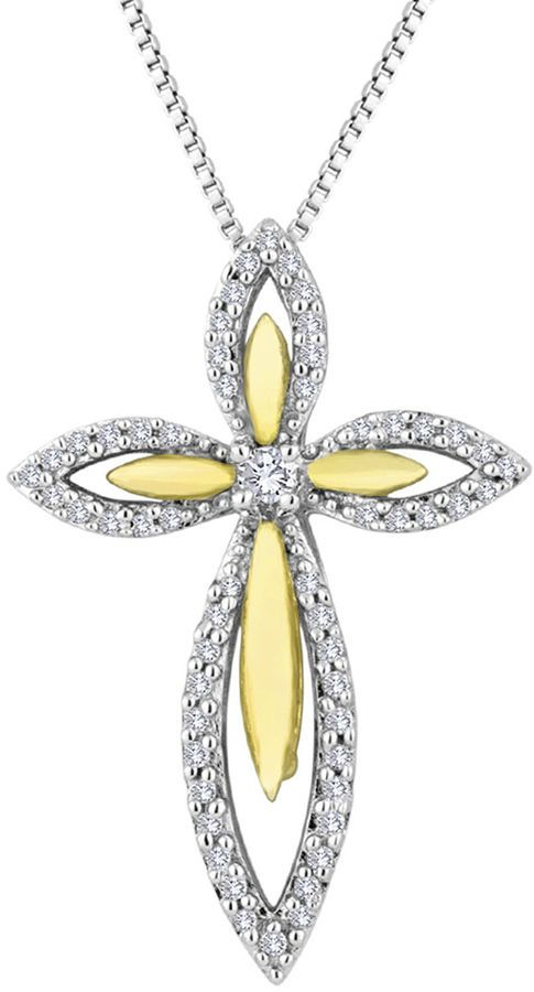 FINE JEWELRY 1/5 CT. T.W. Diamond 14K Gold Over Sterling Silver Cross Pendant Necklace