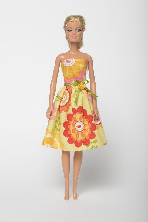 "Handmade Barbie doll clothes, Barbie dresses, Barbie outfit - ""Flower Garden"" floral Barbie dress (222)"