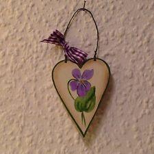 Land-Art Anhänger Herz mit Veilchen und Schleife,  ca 7 cm , Handbemalt, *NEU*